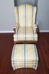 Castella Multi-Colored Floral Striped Polyester Armchair & Ottoman Set