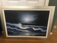 Large Nighttime Ocean Framed Canvas Manassas, 20112