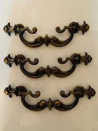 Vintage Victorian Bronze Lace Cabinet Bail Bar pull.