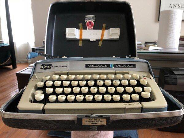 gray and black Olympia typewriter