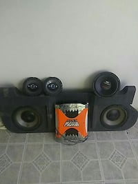 orange and stainless steel amplifier and black loaded subwoofer enclosure Wildwood, 34785