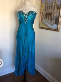 Turquoise chiffon beaded cocktail dress