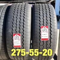 2 used tires 275/55/20 Goodyear AT