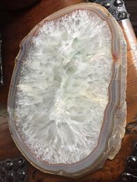Giant slice of closed quartz geode with golden agate edge.  12 inches long, 8.5 inches tall, 1 inch deep  Washington, 20003