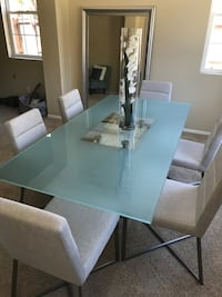 rectangular glass top table with six chairs dining set San Diego, 92131