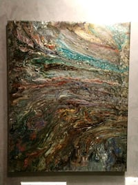 brown, green, and blue abstract painting Los Angeles, 91342