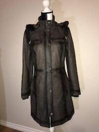 New Danier Leather Winter Coat with Fur Trimmed Hood