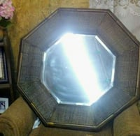 octagonal glass top table with brown wooden base Evansville, 47712