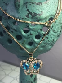 """18k GPL Butterfly Pendant With Chain Necklace 18"""" 2mm Nashville"""