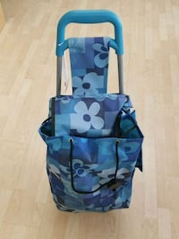 Grocery bag with wheels blue and green camouflage