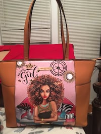 red and white floral tote bag Tulsa, 74136