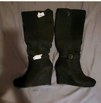 Knee High Wedge Boots - Size 11