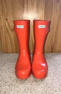 New Hunter Women's Original Short Orange Gloss Rain Boots US/9 Fairfax, 22030