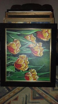 Original french tulipd oil painting signed