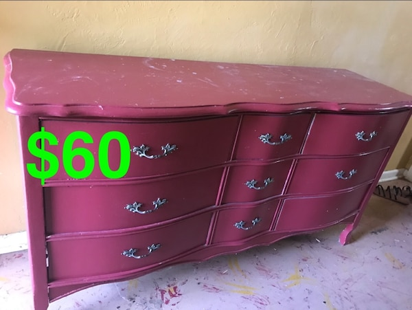 Used Red Wooden 6 Drawer Lowboy Dresser For Sale In G Vine