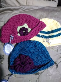 Only 3 left hand made knitting hats