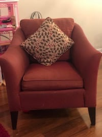 brown fabric sofa chair with throw pillow Surrey, V3V