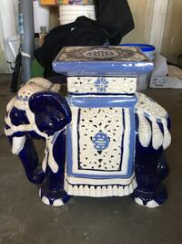 white and blue ceramic elephant stand  Summit, 53066