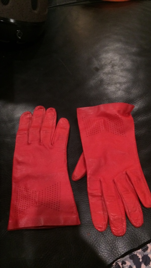 Pair of soft red leather gloves