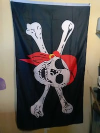 white and black pirate-printed banner Erie, 16510
