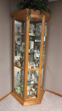 brown wooden framed glass display cabinet Airdrie, T4B 3G6