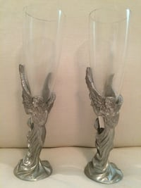 2 Angle champagne pewter glasses