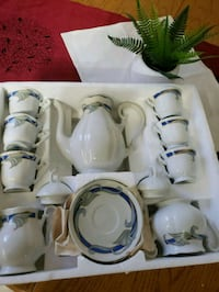 white and blue ceramic tea set  Edmonton, T5H 2W4
