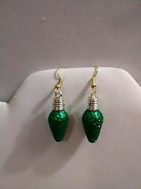 pair of gold-and-green dangling earrings Inverness