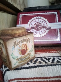 English toffee tin can, Hershey can Henderson