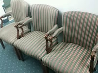 Three white-and-green stripe sofa chairs Hyattsville, 20783