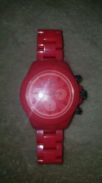 round red chronograph watch with red link bracelet Mill Creek, 98012
