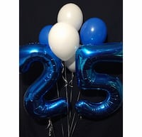 white and blue inflatable balloon