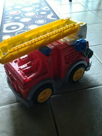 children's red and yellow fire truck toy