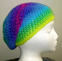 blue, green, and purple knit cap 32 km