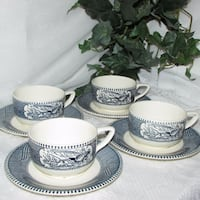 4 sets Royal China Currier & Ives Cups & Saucers Mississauga