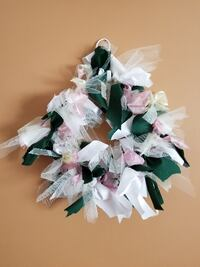white, pink, and green mesh ruffle Christmas wreath SAINTJAMES