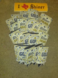white, gold and blue beer holders Davis