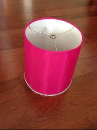Pink lamp shade and silk edge pink sheet curtains