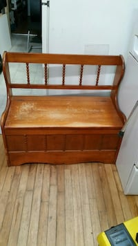 brown wooden storage bench