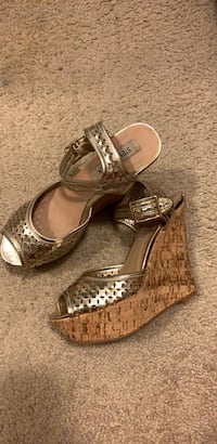 Pair of brown leather open toe ankle strap heels New Carrollton, 20784