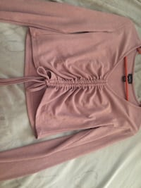 Pink ribbed cropped long sleeve  Lafayette, 47909