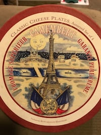 Camembert painted classic cheese paltes