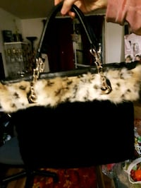 Black and Gold Fur Leatherette Tote Bag, NEW