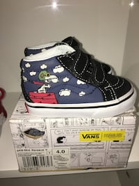 toddler's pair of black-blue-and-white Peanuts print Vans high-tops sneakers with box