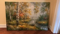 painting of trees in forest and river Oakville