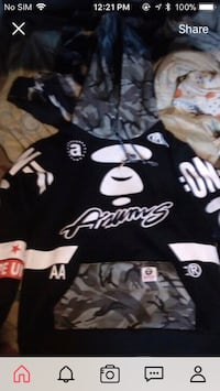 Black and white bape ape, hoodie size L