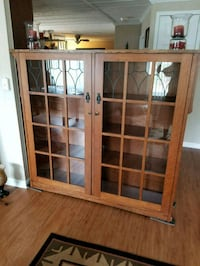 Mission style bookcase with leaded glass  doors. Lake Forest, 92630