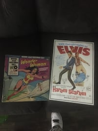 Elvis Presley poster an Wonder Woman book an record set collection