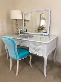 French provincial white desk with mirror and chair Purcellville, 20132