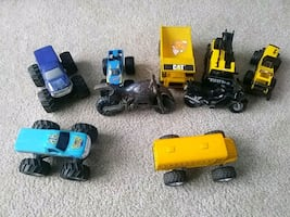 Assorted monster trucks and motorcycles